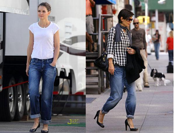 cedc54df4 É exatamente assim que a barra da calça (jeans ou não!) dobrada funciona no  visual do dia a dia! Tudo começou com a ousadia de Katie Holmes e a  temidíssima ...
